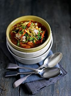 Miso soup with tofu and cabbage