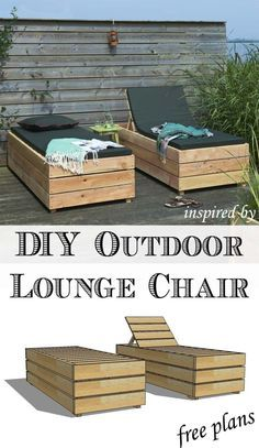 Enjoy the weather outdoor in style. Build a DIY outdoor lounge chair with these free plans. The post Enjoy the weather outdoor in style. Build a DIY outdoor lounge chair with these free plans. appeared first on Outdoor Ideas. Diy Garden Furniture, Diy Furniture Easy, Diy Outdoor Furniture, Outdoor Chairs, Outdoor Decor, Furniture Ideas, Deck Furniture, Outdoor Dining, Ikea Furniture