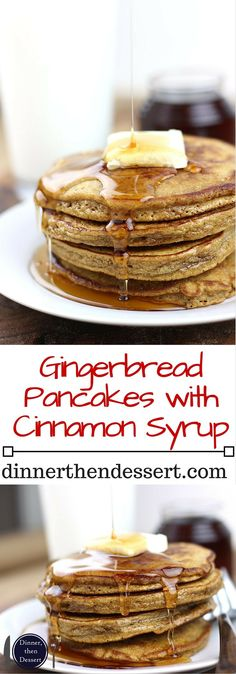 Celebrate the winter holidays with these delicious gingerbread pancakes and cinnamon syrup. Ready to eat in less than 30 minutes these are part of our family tradition and will soon be a part of yours (Gingerbread Pancake Healthy) Best Dessert Recipes, Fun Desserts, Holiday Recipes, Delicious Desserts, Yummy Food, Brunch Recipes, Winter Recipes, Family Recipes, Christmas Recipes