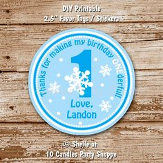 DIY Printable Favor Tags, Stickers.  Winter ONEderland, Snowflake Party Collection. Color Choices.  Circle / Square Shape. $6.00, via Etsy.