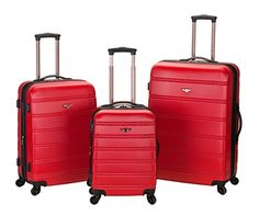 The Set of Classic Red Rockland Melbourne 3 Piece ABS Luggage * You can find out more details at the link of the image.