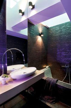 Metallic & purple bathroom with lighting