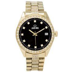 Jean Paul 52mm Oversized Gold, Diamond Ice Men's Watch