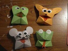 Une jolie petite activité manuelle : les cocottes en papier version petits animaux !