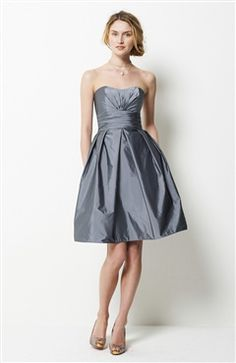 Find the perfect palette of grey bridesmaid dresses & charcoal bridesmaid dresses at Weddington Way. Discover chic bridesmaid gowns in silver, pewter & more. Taffeta Bridesmaid Dress, Knee Length Bridesmaid Dresses, Grey Bridesmaids, Taffeta Dress, Strapless Dress Formal, Bridesmaid Ideas, Plum Bridesmaid, Bridesmade Dresses, Gray Cocktail Dress