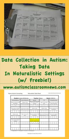 Data Collection in Autism: Taking Data in Naturalistic Settings (Freebie!) Autism Classroom News: Data Collection in Autism: Taking Data in Naturalist. Autism Education, Autism Classroom, Special Education Classroom, Classroom Resources, Classroom Ideas, Classroom Organization, Art Education, Classroom Setting, School Resources