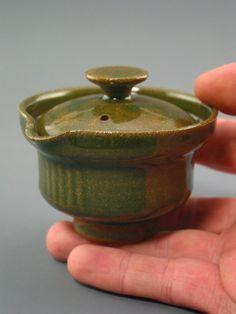 Shiboridashi Teapot (75 ml.), iron-rich stoneware w/ celadon glaze.