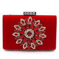 8a15abc733eb3 2016 New Women s Velvet Clutch Fine Diamond Flower Evening Bag Wedding Party  Bridal Handbag Wallet Ladies Chain Shoulder Bag