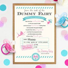Personalised 'Dummy Fairy' Certificate