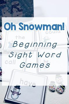 Oh Snowman! Beginning Sight Words card games are a fun way for kids to improve sight word fluency. 220 basic sight words are included in this game along with three different wild cards to add to the fun! Reading Fluency, Reading Intervention, Kindergarten Reading, Reading Strategies, Name Activities, Teaching Activities, Teaching Resources, Winter Activities, Homeschooling Resources
