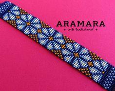 Mexican Huichol Loom Beaded Peyote Bracelet by Aramara