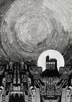 black and white ink illustration by Anna Garforth #cityscape #art
