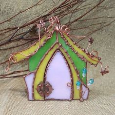 FALL SALE Stained Glass Fairy House with Door by DragonflyDreams1