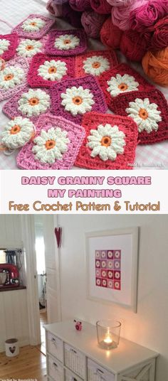Daisy Granny Square - My Painting [Free Crochet Pattern and Tutorial]