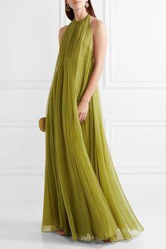 Valentino - Layered Silk-chiffon Halterneck Gown - Sage green