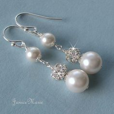 Pearl Earrings Pearl and Crystal Long Drop Earrings by JaniceMarie, $26.00