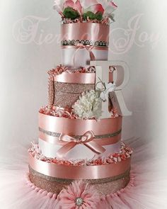 4 Tier Pink Pearled Princess DIAPER CAKE w/ flower topper