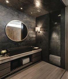 badgestaltung ideen traumbader badezimmer in schwarz mit rundem spiegel