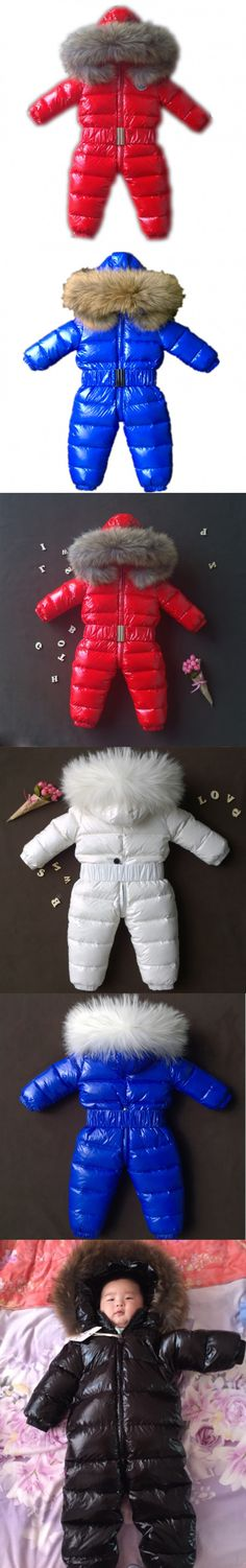 Winter Baby Clothes Children Duck Down Snow Suit Baby Rompers Boys Waterproof Warm Baby Girls Jumpsuit Newborn Snow Costumes $86.12