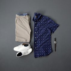Men's Summer Fashion, short sleeve patterned button down, shorts, sneakers, watch & no show socks #mensfashion #summerstyle #menstyle