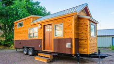 This is Francelia's Tiny House on Wheels built by MitchCraft Tiny Homes. It's a custom tiny home on a trailer with a bump out built over the tongue of the trailer in the living roo… Tiny House Builders, Tiny House Nation, Tiny House Plans, Tiny House Design, Tiny House On Wheels, Home Builders, Modern Rustic Homes, Tiny Spaces, Tiny Apartments