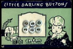 """(::)  """"Little Darling Buttons"""" on vintage card.  """"LaMode"""". Lettering on stacked blocks: """"B.B. & Co."""" = B. Blumenthal & Co., Inc.   {Research and original description by DiaNNe - """"Vintage Button Cards (::)"""""""