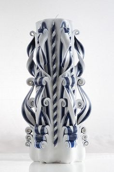 White Candle - Blue Candle - Carved candle - Unique Gift