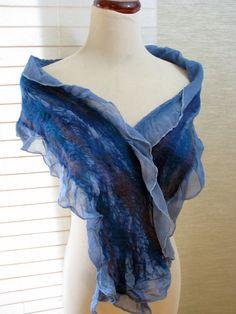 Felt Scarf Nuno Felted Ruffle Scarf  Blue Silk and by fullenstar, $47.00