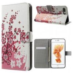 Apple iPhone 7 plus vaaleanpunaiset kukat puhelinlompakko.