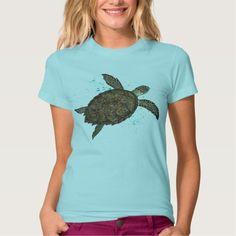 Apparel ••• Hawksbill Sea Turtle - watercolor art ~ Endangered species series by Amber Marine (Front print version) ••• AmberMarineArt.com •••