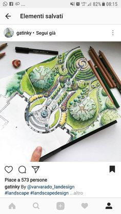 Landscape Gardening Meaning Tagalog Landscape Architecture Drawing, Landscape Sketch, Landscape Design Plans, Landscape Drawings, Plan Drawing, Rendering Drawing, Drawing Drawing, Drawing Ideas, Drawing Interior