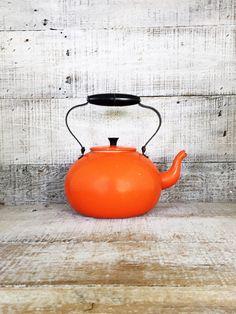 Teapot Mid Century Metal Teapot Orange Enamel Teapot with Metal and Plastic Handle Orange Tea Kettle Retro Teapot Mid Century Farmhouse Chic by TheDustyOldShack on Etsy