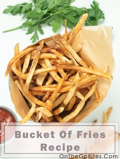 Our easy homemade French fries recipe hits the comfort food gold. Hand cut potatoes, twice fried and seasoned with kosher or sea salt. Add your favorite flavored ketchup. The best fries ever. Or see our other recipes for oven baked fries. OnTheGoBites.Com #potato sides #comfortfood