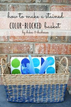 how to make a stained color-blocked basket using minwax colored stain