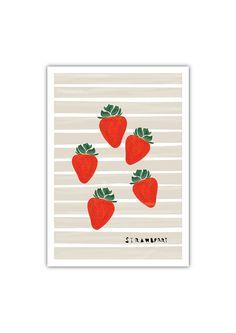 Strawberry Art print Geometry Vegetable Fruit by dekanimal on Etsy