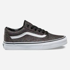 Vans Glitter Old Skool Shoes ($65) ❤ liked on Polyvore featuring shoes, sneakers, skate shoes, cap toe sneakers, cap toe shoes, vans sneakers and glitter shoes