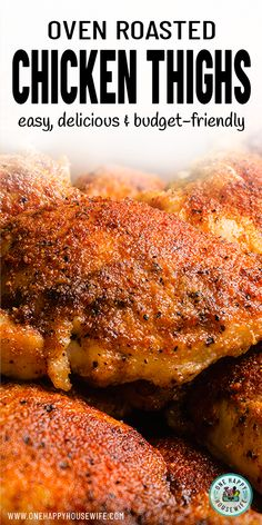 These simple Oven Roasted Chicken Thighs are easy to make, super delicious, and budget-friendly. Make tender, juicy, perfectly seasoned oven-baked chicken thighs every time. Crispy Baked Chicken Thighs, Chicken Thighs Oven Time, Chicken Legs, Recipes With Chicken Thighs, Chicken Theighs, Chicken Quarter Recipes, Healthy Chicken Thigh Recipes, Best Roasted Chicken, Recipes