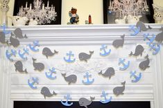 Whales and anchors garland, baby shower decor, baby boy birthday garland, nautical garland decoration