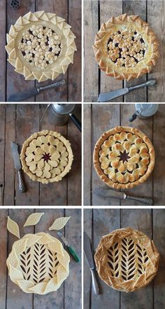 Baker Reveals Amazing Pie Crust Designs in Before & After Photos Indulge in these perfect pies by food artist Karin Pfeiff Boschek. Pie Dessert, Dessert Recipes, Beautiful Pie Crusts, Pie Crust Designs, Pie Decoration, Pies Art, Delicious Desserts, Yummy Food, Pie Tops
