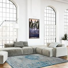 Louis De Poortere Fading World 8255 Grey Turquoise Designer Luxury Rug By De Poortere Living Room Grey, Living Room Furniture, Turquoise Rug, W Hotel, Reclaimed Wood Furniture, Rustic Furniture, Contemporary Interior Design, Contemporary Rugs, Blue Rooms