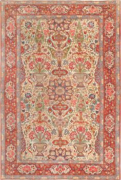 Antique Persian Dabir Kashan Carpet 47194 Main Image - By Nazmiyal  http://nazmiyalantiquerugs.com/antique-rugs/persian-rugs/antique-persian-dabir-kashan-carpet-47194/
