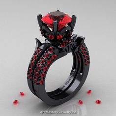 WOW thiis is eye catching.  14K Black Gold French Vintage 3.0 Ct Rubies by DesignMasters, $3549.00