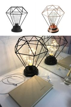 Geometric Metal Lamp Add this stylish Geometric Lamp to any room to give it a more modern appeal! On SALE for a limited time so get yours TODAY! The post Geometric Metal Lamp & Home Trendy Furniture, Metal Furniture, Bedroom Lamps, Bedroom Decor, Lampe Metal, Geometric Lamp, Warm Home Decor, Unique Lamps, Cool Lamps