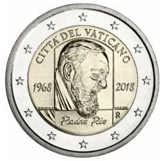 2 euro vatican 2018 - Padre Pio - 1968 - 2018 Piece Euro, Euro Coins, Gold And Silver Coins, Commemorative Coins, World Coins, Coin Collecting, Stamp, Illustrations, Ideas