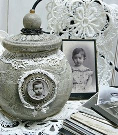 GAVE ME AN IDEA FROM THE MASON JARS YOU PINNED WITH THE LACE...WE COULD GET THE LITTLE PHOTO FRAMES FROM THE SCRAP BOOK  AISLE AND PUT PICS OF YOU ALL ON THEM?