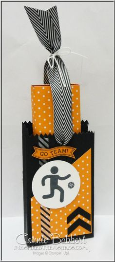 For the Create with Connie and Mary Saturday Blog Hop, Mini Treat Bag Thinlet Candy Slider.  Pull up on the ribbon to reveal the treat!  favor, candy wrapper, Simply Sports, treat, box, Stampin' Up!, #stampinup, Connie Babbert, www.inkspiredtreasures.com
