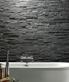 Master Bath feature wall behind tub with slate. Maybe montauk blue instead
