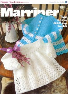 Reduced+Baby+Crochet+Matinee+Jacket+and+Angel+Top+by+avintagescot,+$1.68
