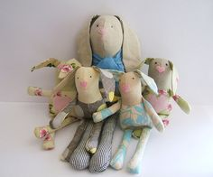 Small Easter bunny. Kids stuffed rag bunny. by ThePaperNeedle