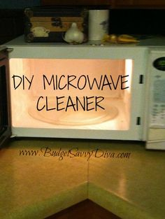 DIY MICROWAVE CLEANER  Stop putting off a chore that is SO EASY to do in just 10 minutes- it's cleaning your microwave!! It's as simple as mixing together 1 cup of hot water and 1 cup of vinegar in a microwave safe container and placing it in the microwave. Let your microwave run for 10 minutes and enjoy a sparkling and shinning microwave!